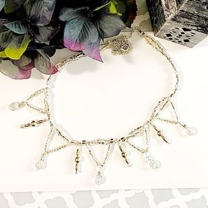 20's Glamour Crystal & Silver Necklace